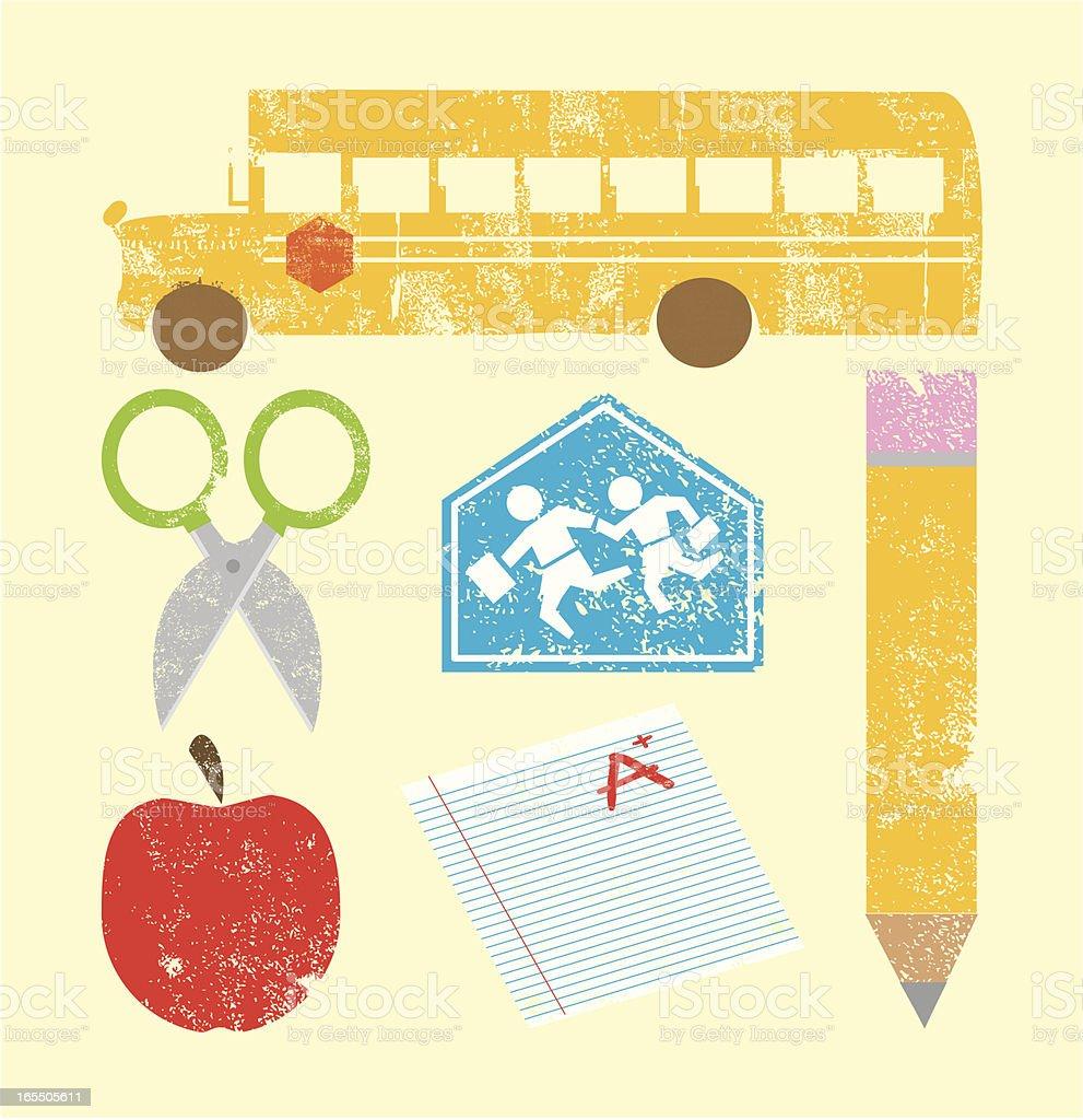 Iconos de la escuela grabados - ilustración de arte vectorial