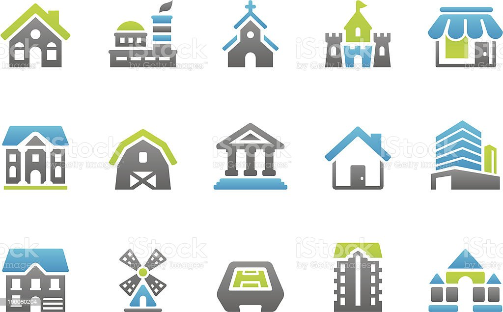 Stampico icons - Buildings royalty-free stock vector art
