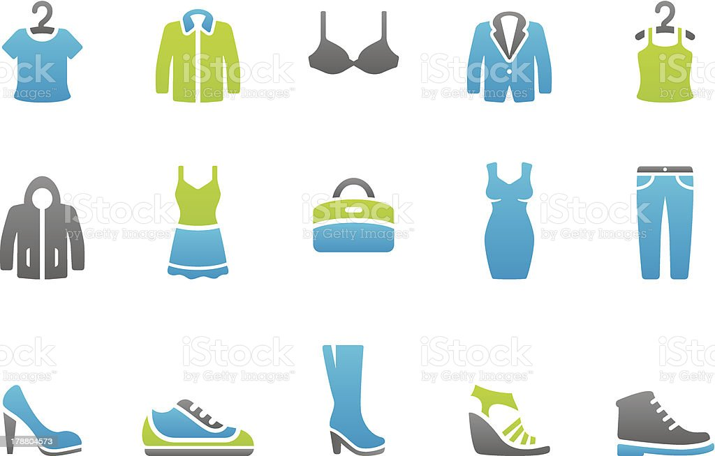 Stampico icons - Clothing and footwear vector art illustration