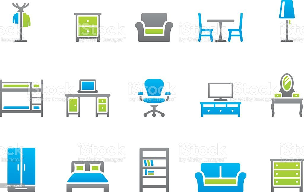 Stampico icons - Furniture royalty-free stock vector art