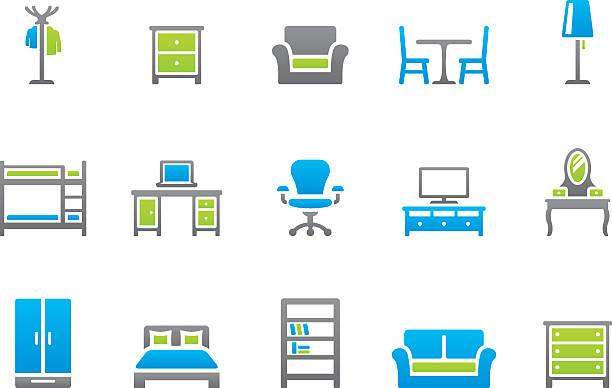 stockillustraties, clipart, cartoons en iconen met stampico icons - furniture - breakfast table