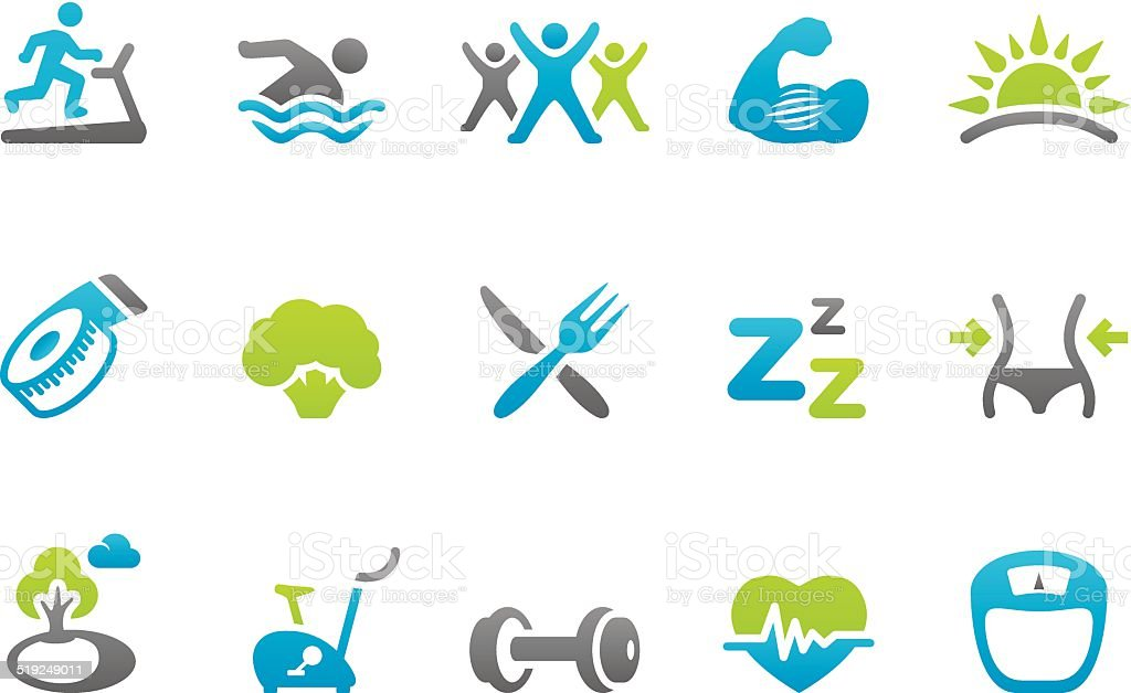 Stampico icons - Healthy Lifestyle vector art illustration
