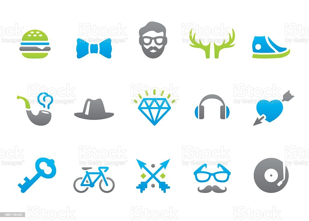 Stampico icons - Hipsters vector art illustration