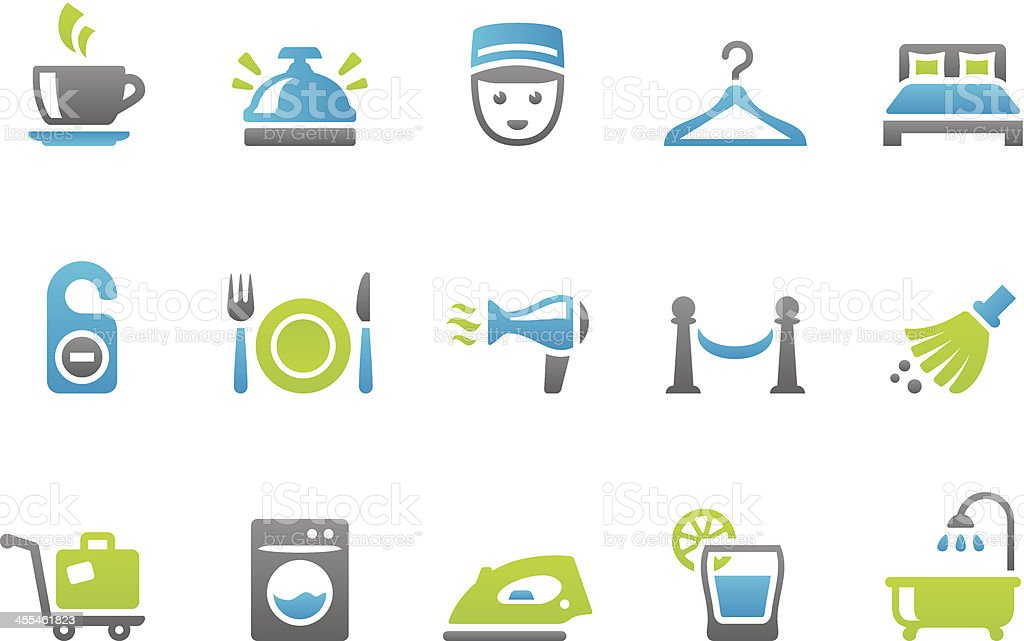 Stampico icons - Hotel service vector art illustration