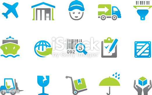 47 set of the Stampico collection - Logistics and Transportation icons.