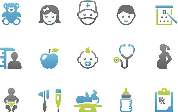 ilustrações, clipart, desenhos animados e ícones de stampico ícones-pediatra - pediatra