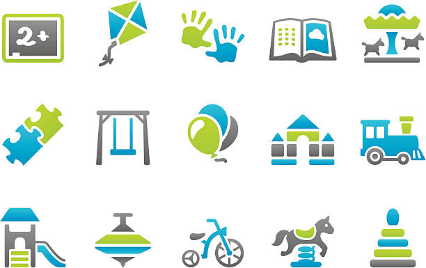 bildbanksillustrationer, clip art samt tecknat material och ikoner med stampico icons - preschool - förskolebyggnad