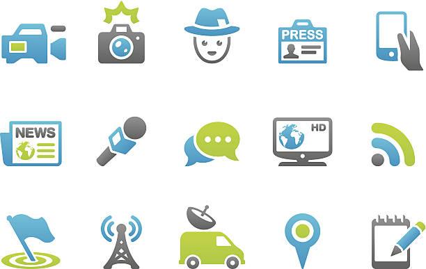 illustrations, cliparts, dessins animés et icônes de stampico icônes-presse - interview