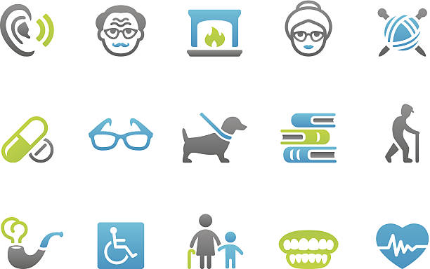 stampico icons - senior adult - old man glasses silhouettes stock illustrations, clip art, cartoons, & icons