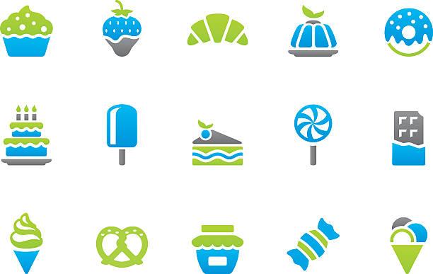 stampico symbole-süße speisen - tortenriegel stock-grafiken, -clipart, -cartoons und -symbole