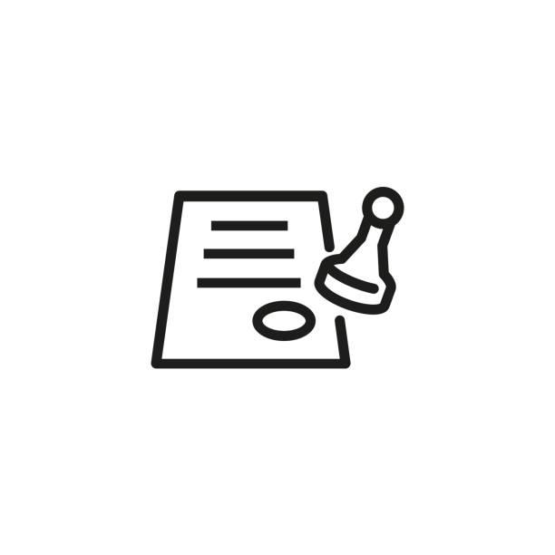 illustrations, cliparts, dessins animés et icônes de icône de papier emboutissage - notaire