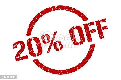 20% off red round stamp