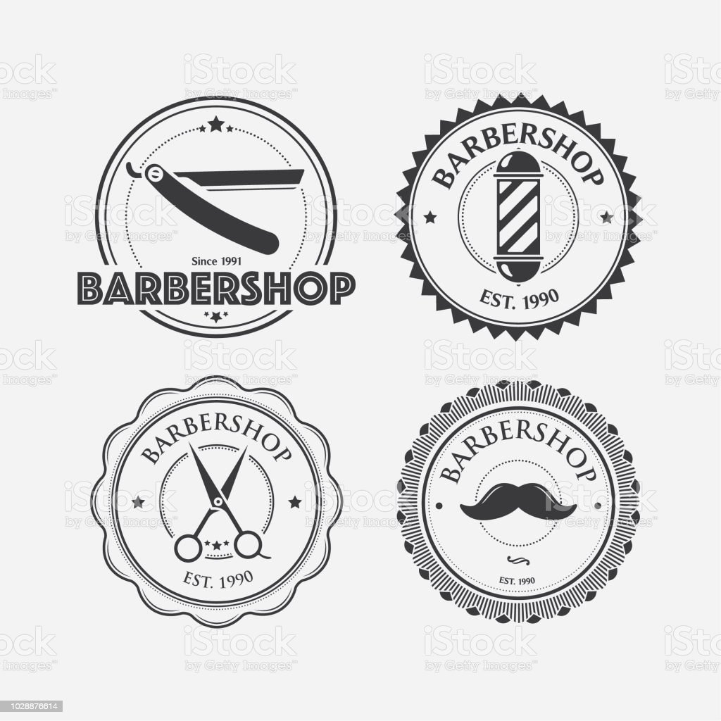 Stamps for Barbershop vector art illustration