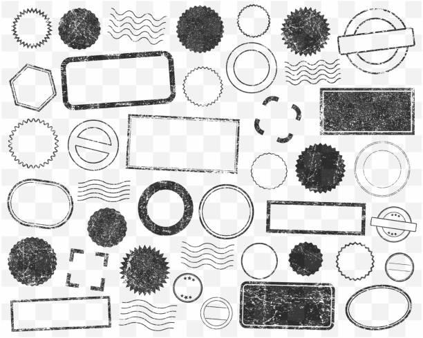 stemple ramki zestaw kształtów ikony wektorowej. pieczęć grunge tuszu etykiety znak kolekcji. odizolowane na białym tle. czarny okrągły i kwadratowy pakiet graniczny znaczków. - pieczęć gumowa stock illustrations