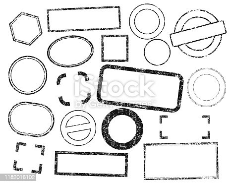 Stamps frames vector set. Stamp grunge ink rubber labels. Isolated on white background.
