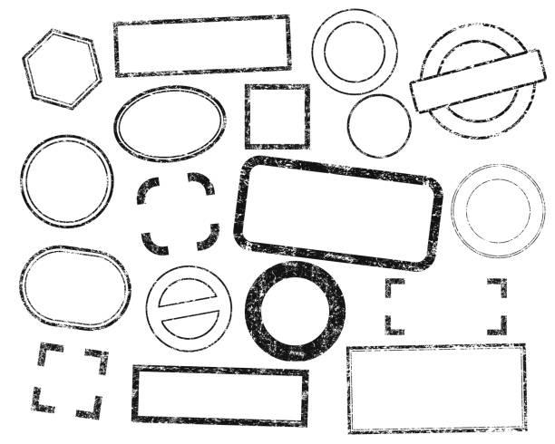 znaczki ramki zestaw wektora. etykiety z tuszem grunge. odizolowane na białym tle. - pieczęć gumowa stock illustrations
