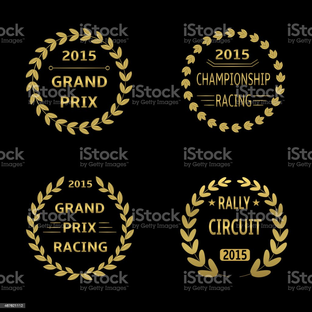 Stamps of 2015 races, rally circuit and grand prix vector art illustration