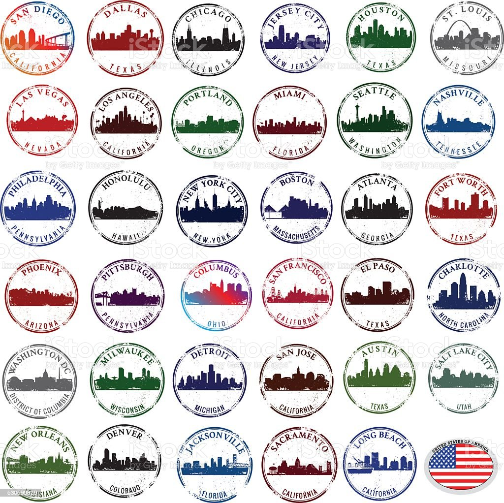 Stamps of American CIties vector art illustration
