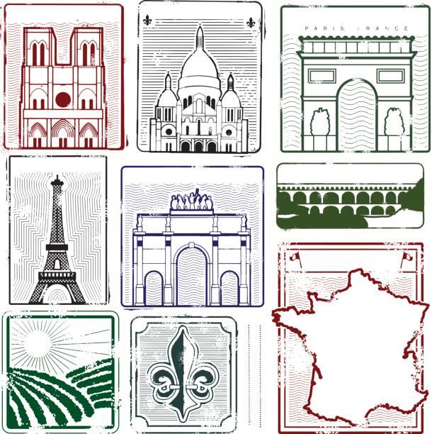 stockillustraties, clipart, cartoons en iconen met stamps of france - pont du gard