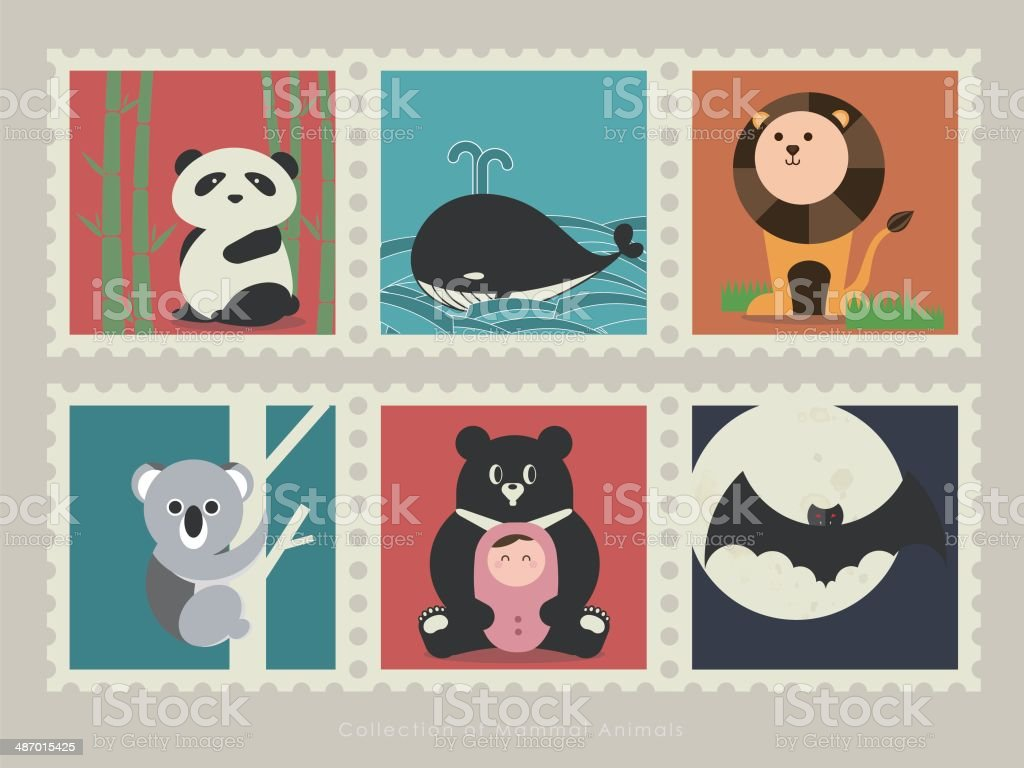 Stamps of mammal animal-1 vector art illustration
