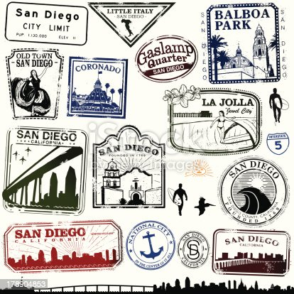 Series of Stylized stamps of San Diego landmarks.