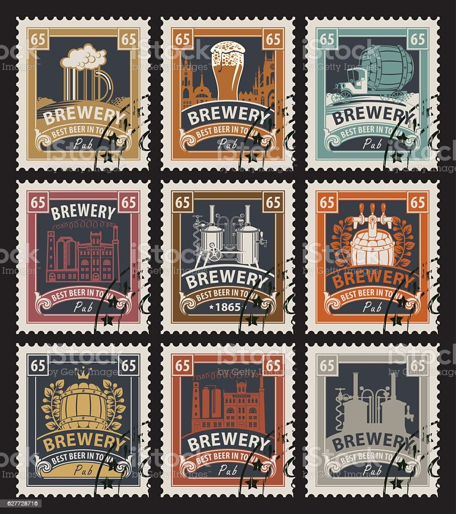 stamps on beer and brewery vector art illustration
