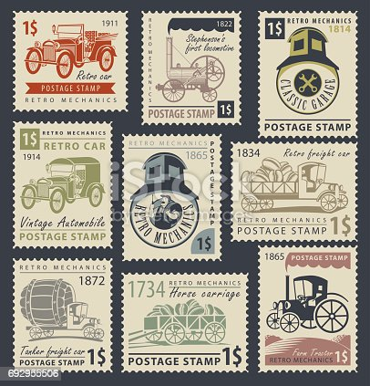 set of nine postage stamps on the theme of road and rail transport in retro style