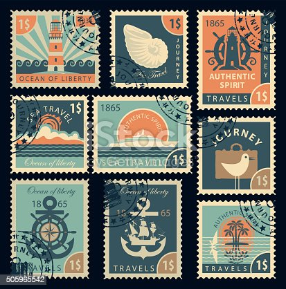 set of stamps on the theme of travel by sea in retro style