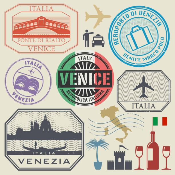 briefmarken oder symbole setzen italien, venedig - italien stock-grafiken, -clipart, -cartoons und -symbole