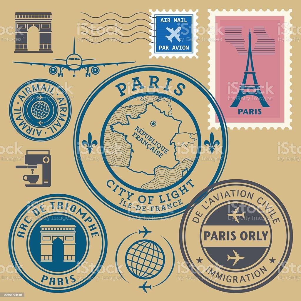 Stamps set, Paris theme vector art illustration