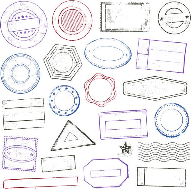 znaczki zestaw - pieczęć gumowa stock illustrations