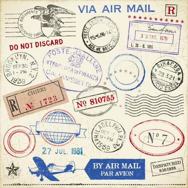 znaczki - pieczęć gumowa stock illustrations