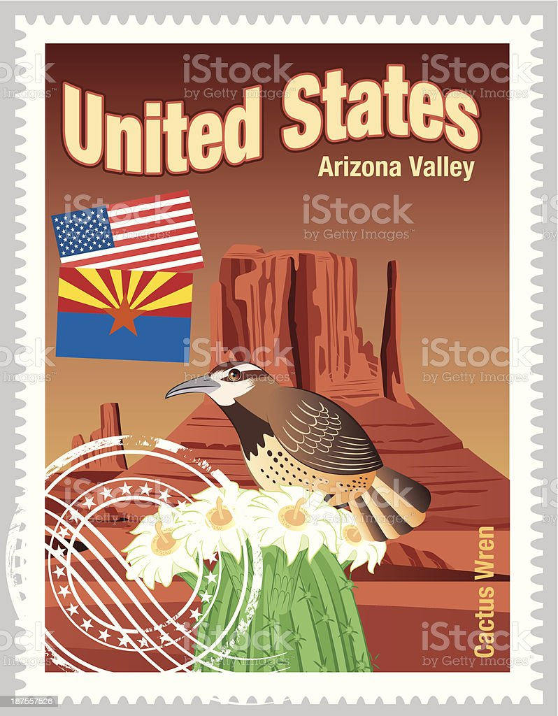USA Stamps vector art illustration