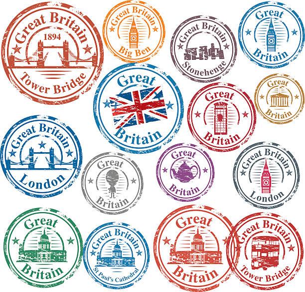 ilustraciones, imágenes clip art, dibujos animados e iconos de stock de sellos reino unido - viaje a reino unido