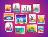 Stamps - modern vector line travel illustration of collection. Have a trip, enjoy your vacation. Be on a safe journey. See landmarks like Eiffel tower, sphinx, tower of London, the great wall