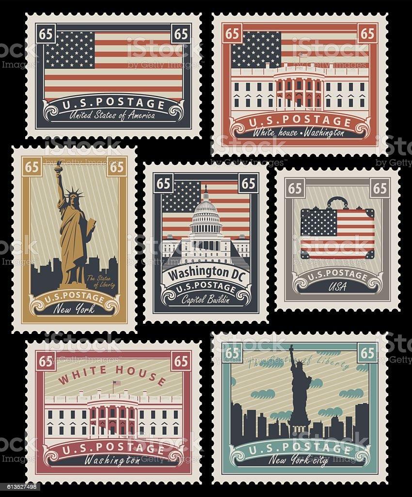 stamps with America landmarks stamps with america landmarks - immagini vettoriali stock e altre immagini di agenzia di viaggi royalty-free