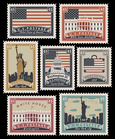 set of Postage stamps with the image of the United States of America architectural landmarks in retro style