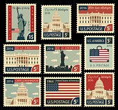 istock stamps with United States of America landmarks 516852918