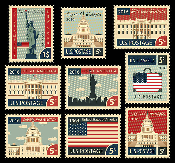 stamps with United States of America landmarks set of stamps with the image of the United States of America architectural landmarks white house stock illustrations