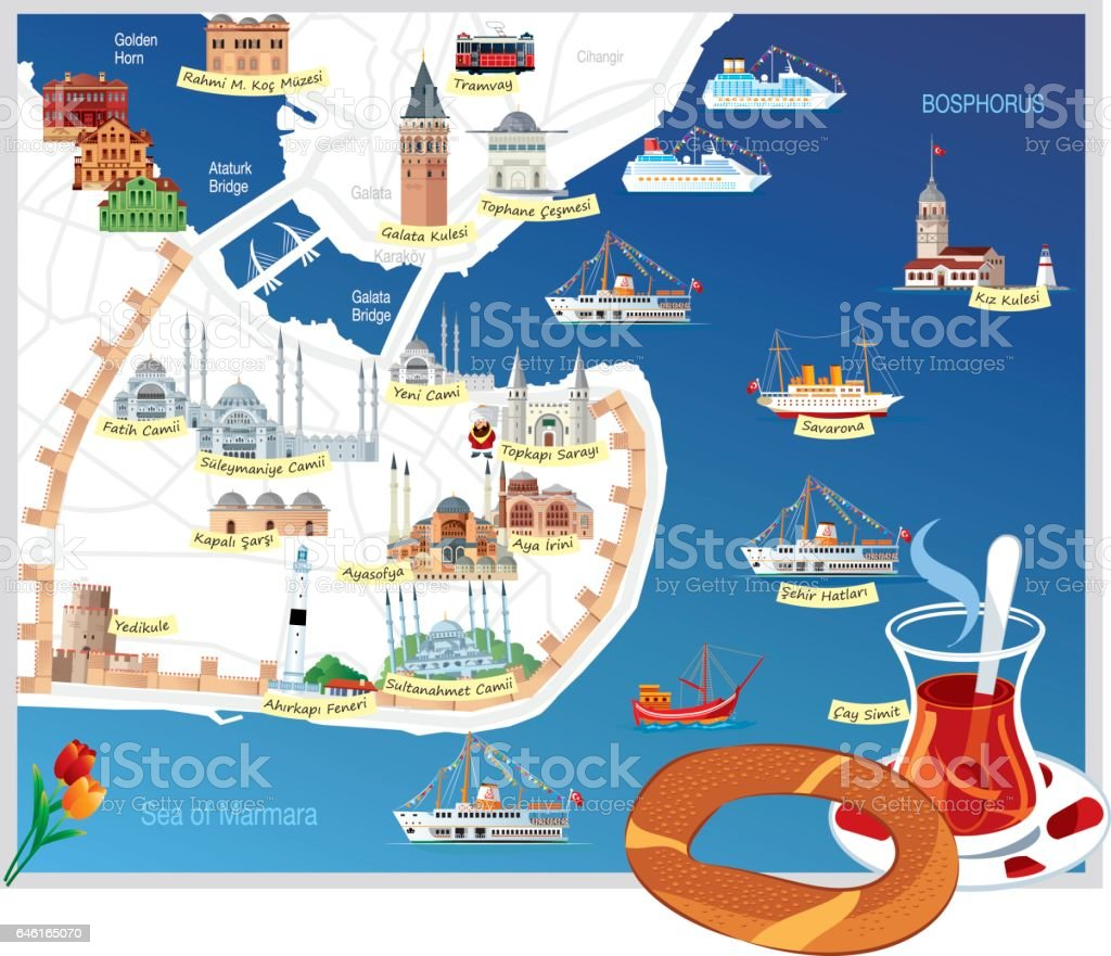 stanbul Cartoon Map Stock Vector Art More Images of Architecture