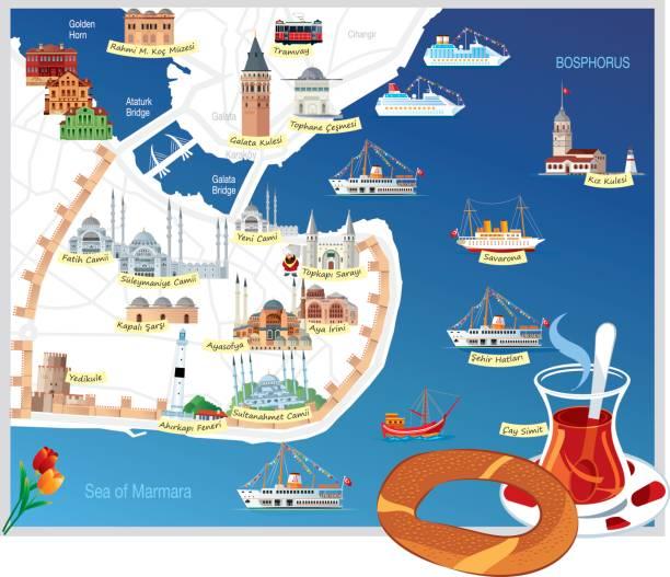 Mapa de Cartoon Istanbul - ilustración de arte vectorial