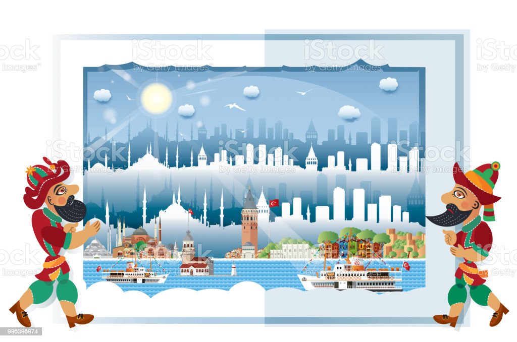 İstanbul, Karagöz and Hacivat vector art illustration