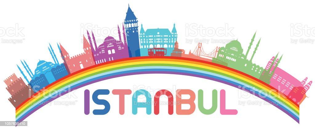 İstanbul Rainbow vector art illustration