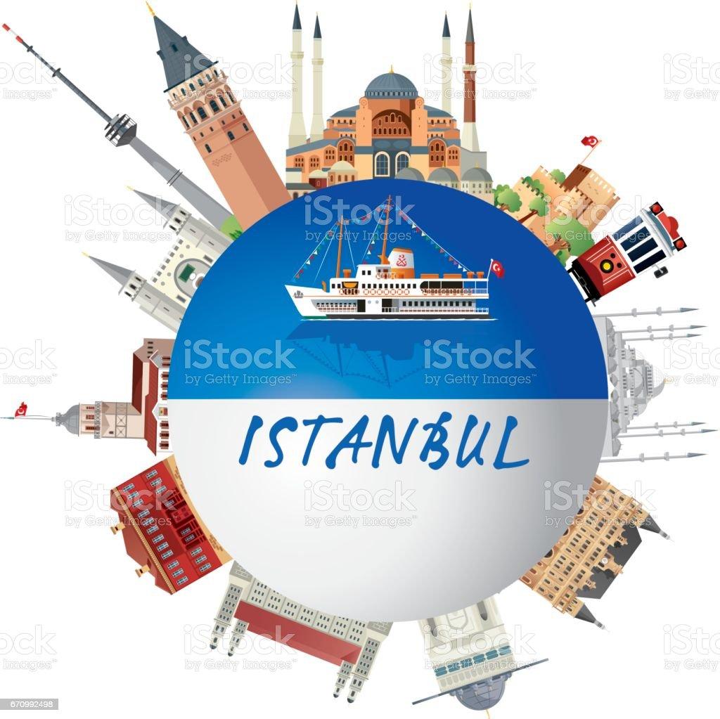 İstanbul Travel vector art illustration