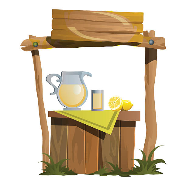 Stand for preparation and selling of citrus drinks Stand for preparation and selling of citrus drinks, vector illustration in cartoon style lemonade stand stock illustrations