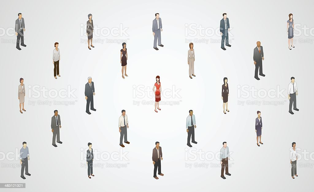 Stand Out From Crowd Illustration vector art illustration