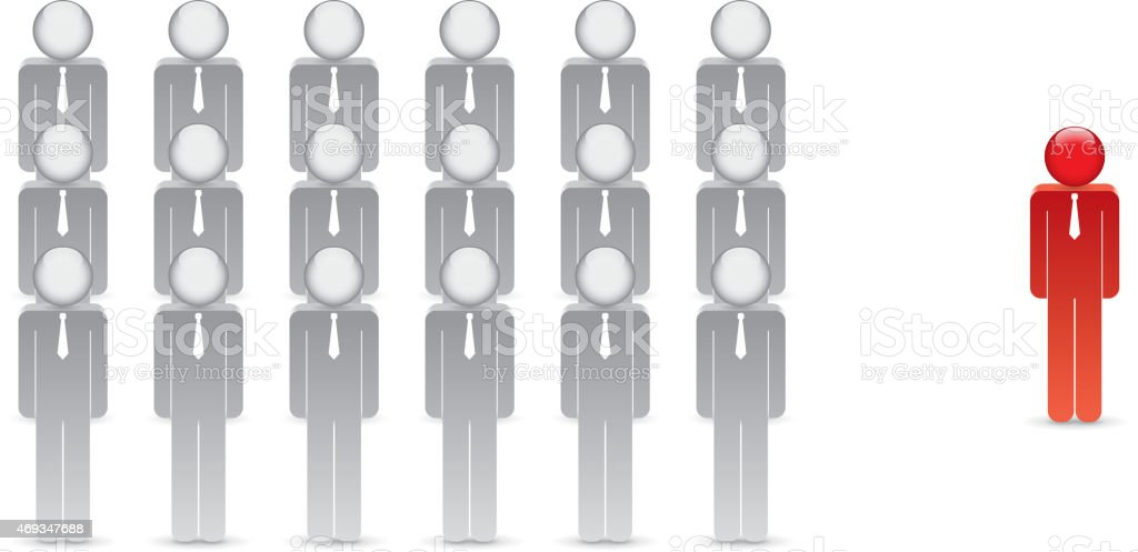 Stand out from the crowd vector art illustration