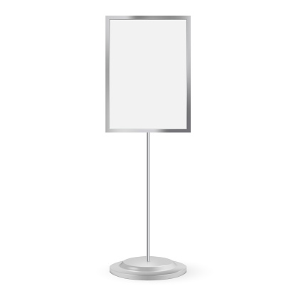 Stand signage with blank screen. Vector illustration. Advertising signage mockup isolated on white background.