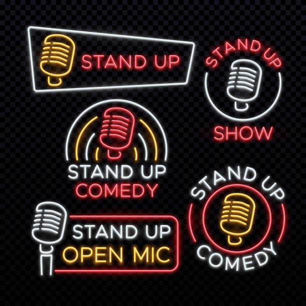 stand up comedy bright neon vector signs - comedian stock illustrations
