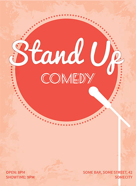 stand up comedy event poster with white microphone stand - comedian stock illustrations